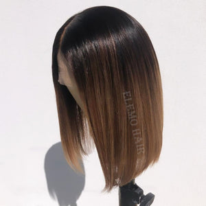 Celebrity Brown 13×6 Lace Front Bob Wig Bleached Knots