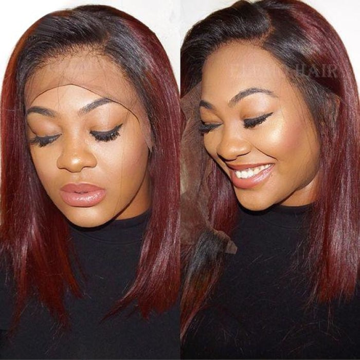 Color 1B Burgundy Red Bob Wig Blunt Cut Lace Front
