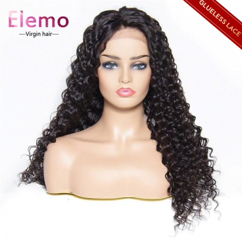 Deep Wave Lace Closure Wigs With Baby Hair Virgin