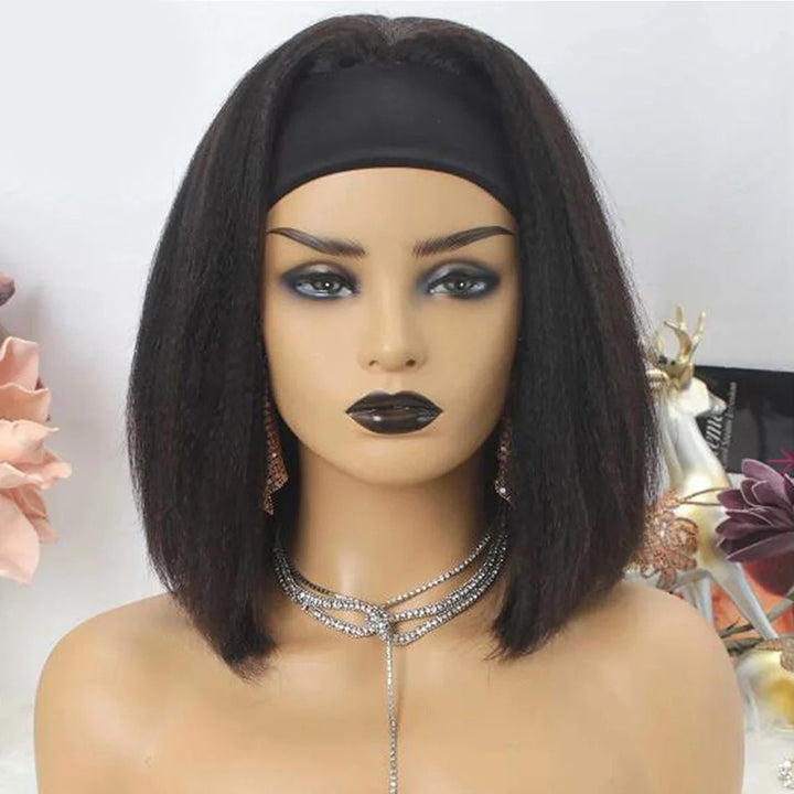 Human Hair Kinky Straight Headband Bob Wig Easy Install