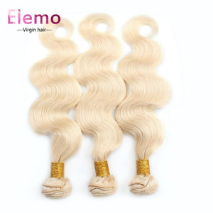 Elemo 613 Blonde Body Wave 3 Bundles With Lace Closure Virgin Hair