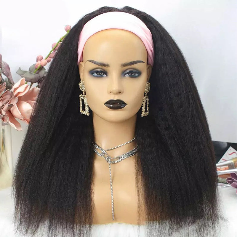 Glueless Human Hair Kinky Straight Headband Wigs