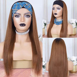 ELEMO HAIR Ombre Dark Root Brown Glueless Headband Wig