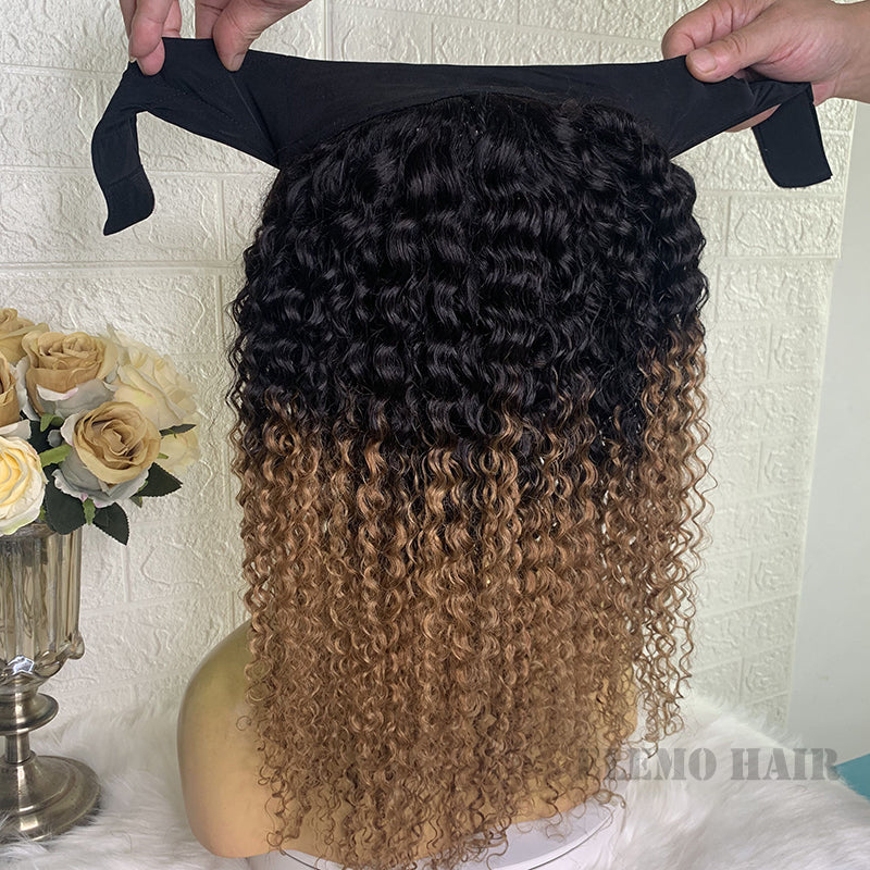Ombre Brown Deep Curly Headband Wig