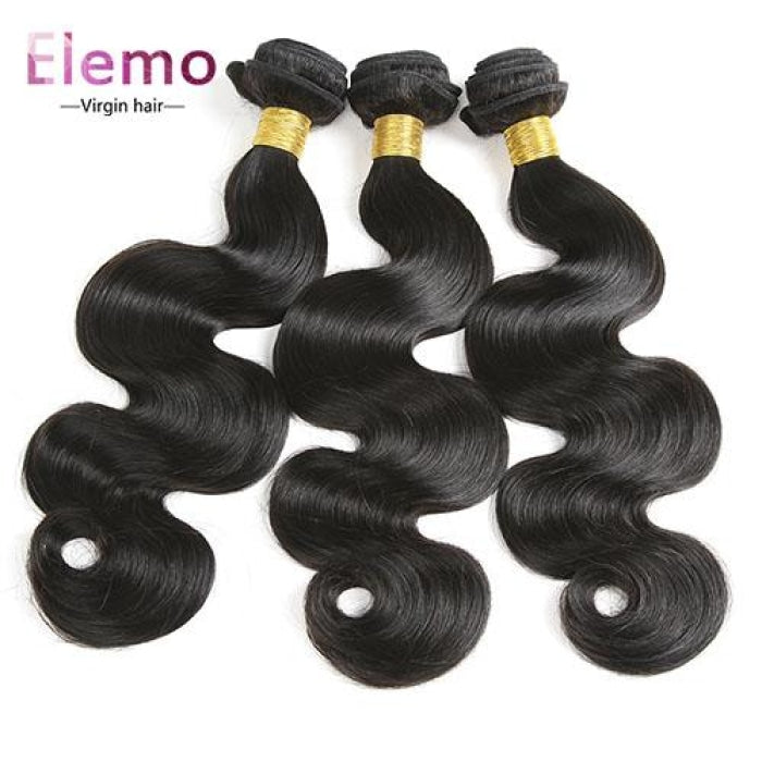 Indian Body Wave 3 Bundles With Lace Closure Virgin Hair