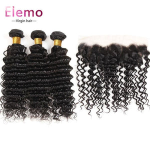 Indian Deep Wave 3 Bundles +Lace Frontal Virgin Hair
