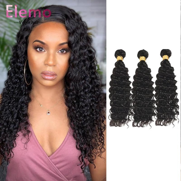 Indian Deep Wave 3 Bundles With Lace Closure Virgin Hair