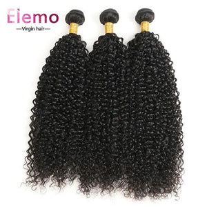Indian Jerry Curl 3 Bundles With Lace Closure Virgin Hair