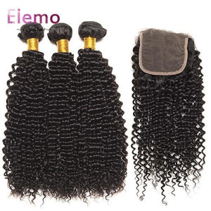 Indian Kinky Curly 3 Bundles With Lace Closure Virgin Hair