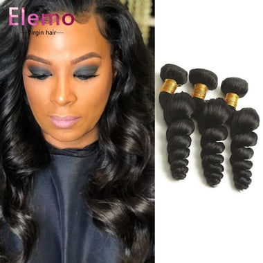 Indian Loose Wave 3 Bundles +Lace Closure Virgin Hair