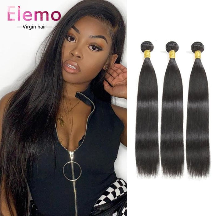 Indian Straight Hair 3 Bundles+Closure Virgin