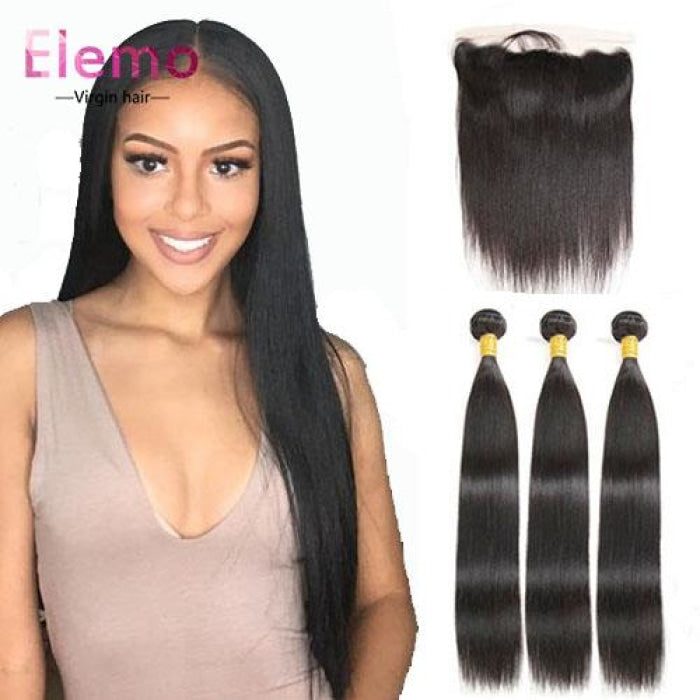 Indian Straight Lace Frontal With 3 Bundles Virgin Hair
