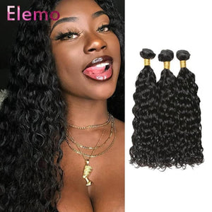 Indian Water Wave 3 Bundles +Lace Closure Virgin Hair