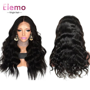 Invisible Transparent Lace Virgin Hair Full Wig Pre Plucked Body Wave / 8 Inch
