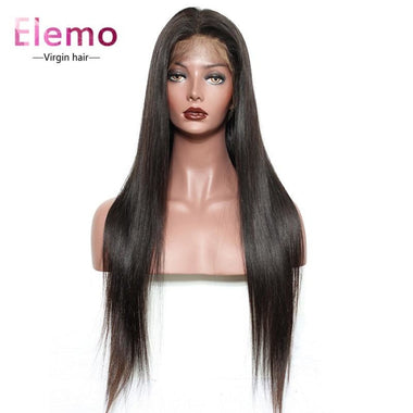 Invisible Transparent Lace Virgin Hair Full Wig Pre Plucked Straight / 8 Inch