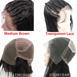 Invisible Transparent Lace Virgin Hair Full Wig Pre Plucked