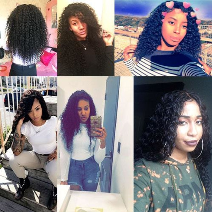 Jerry Curly Frontal+3 Bundles Indian Hair Virgin