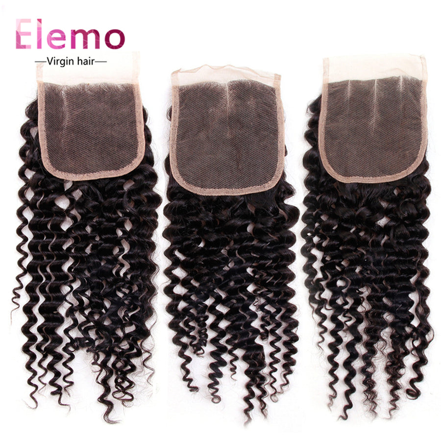 Kinky Curly Lace Closure 4×4 Three/Middle/Free Part
