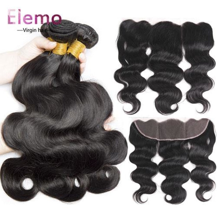 Malaysian Body Wave 3 Bundles With Lace Frontal Virgin Hair