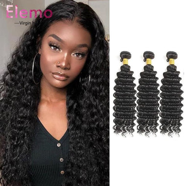 Malaysian Deep Wave 3 Bundles With Closure Virgin Hair