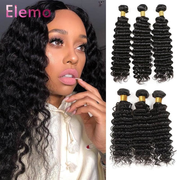 Malaysian Deep Wave Lace Frontal+3 Bundles Virgin Hair