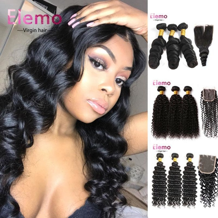 Malaysian Hair All Textures 3 Bundles+Closure Virgin