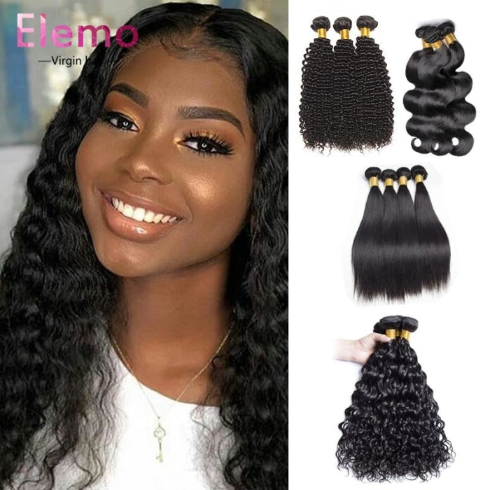 Malaysian Hair All Textures 3 Bundles+ Frontal Virgin