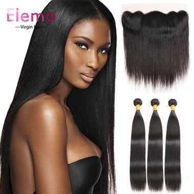 Malaysian Hair Straight 3 Bundles+Frontal Virgin