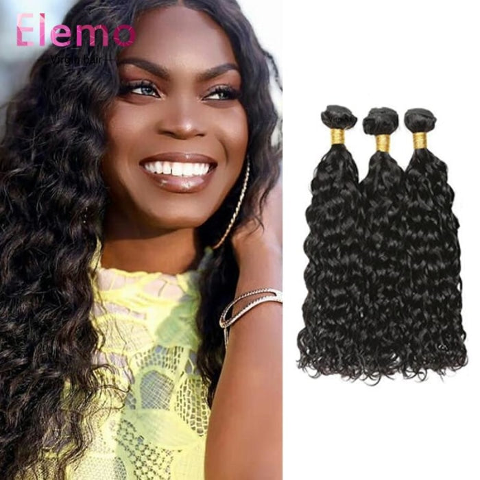 Malaysian Hair Water Wave 3 Bundles + Closure Virgin