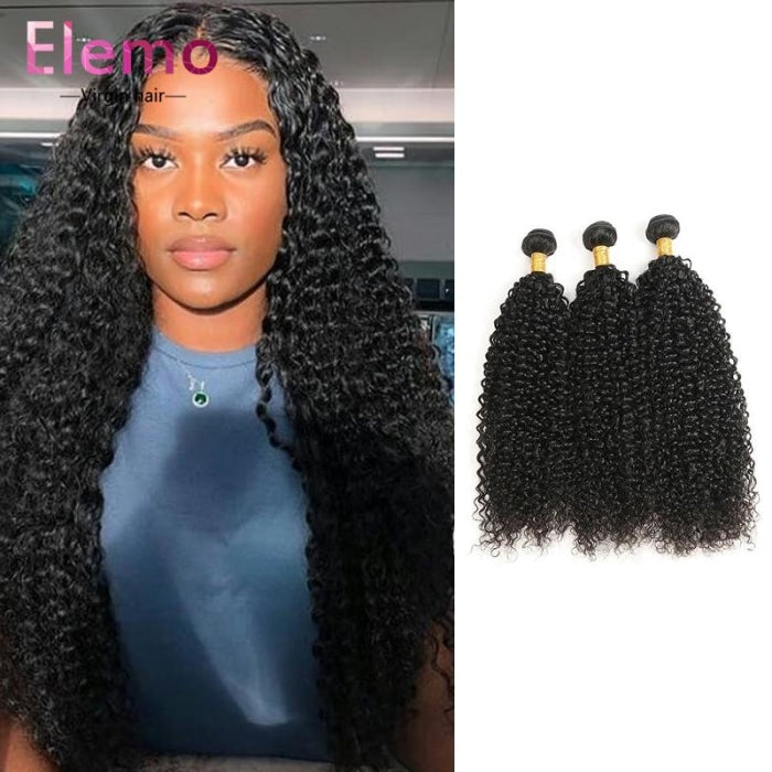 Malaysian Jerry Curl Hair 3 Bundles+Closure Virgin