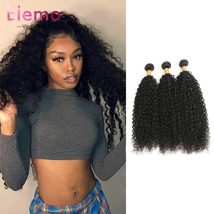 Malaysian Jerry Curly Lace Frontal With 3 Bundles Virgin Hair