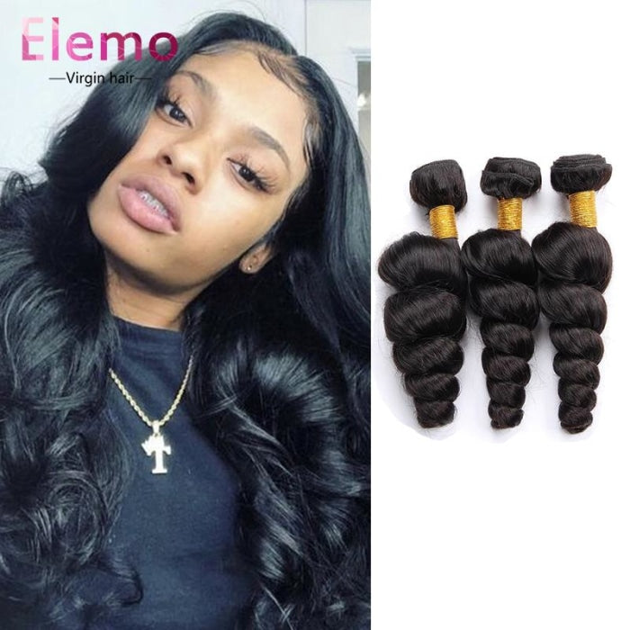 Malaysian Loose Wave Lace Frontal With 3 Bundles Virgin Hair