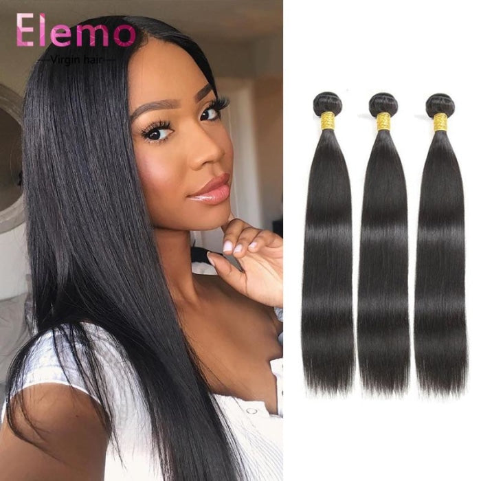 Malaysian Straight Hair 3 Bundles+Closure Virgin
