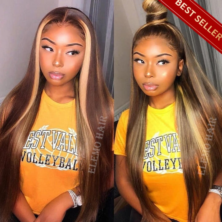 Mix Color Highlight Camel Brown Lace Front Wigs