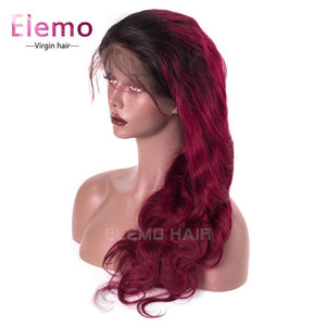 Ombre Color 1B Burgundy Red Body Wave Lace Front Wig