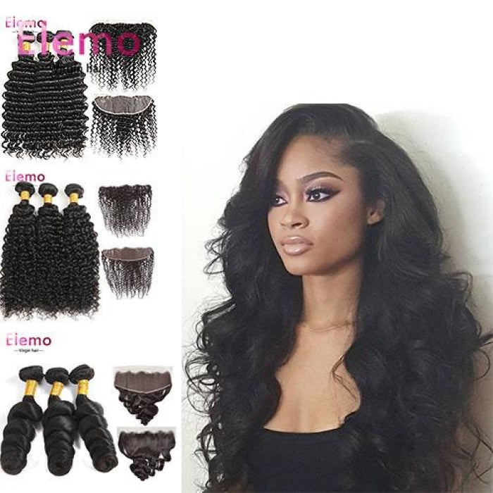 Peruvian 3 Bundles+ Frontal All Textures Virgin Hair