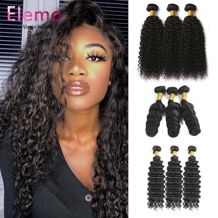 Peruvian All Textures 3 Bundles+Closure Virgin Hair