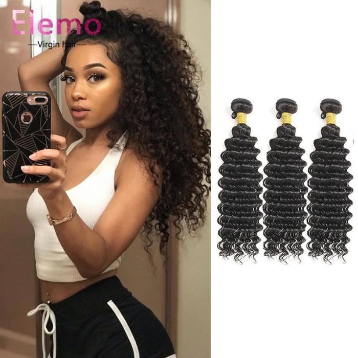 Peruvian Deep Wave 3 Bundles With Closure Virgin Hair