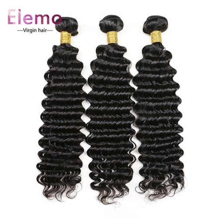 Peruvian Deep Wave Lace Frontal With 3 Bundles Virgin Hair