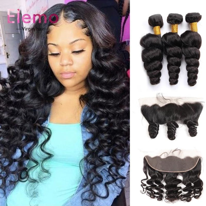 Peruvian Loose Wave Lace Frontal With 3 Bundles Virgin Hair