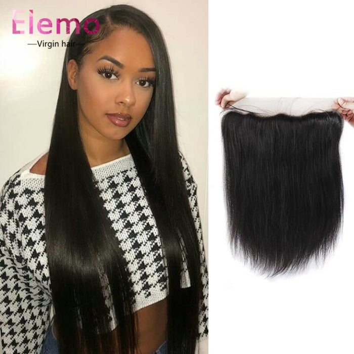 Peruvian Straight Lace Frontal+3 Bundles Virgin Hair
