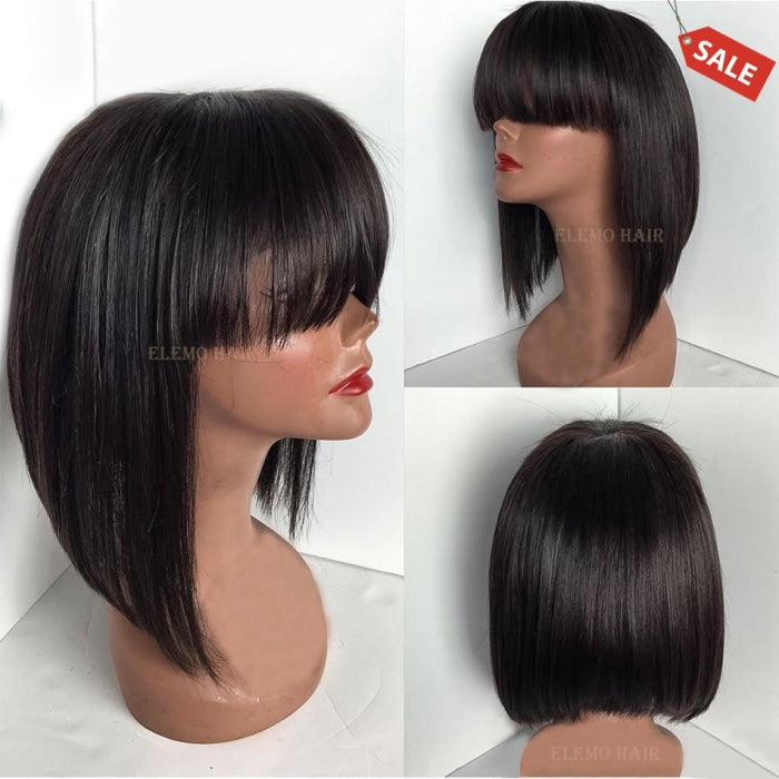 Short Bob Wig With Bangs Glueless 13×6 Front Lace