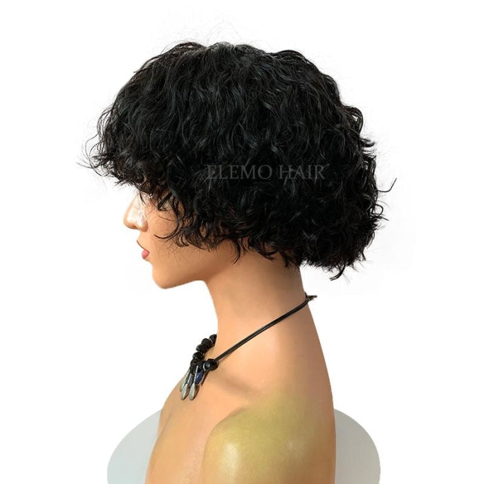 Standout Texturized Bouncy Curly Wavy Pixie Short Bob Wig