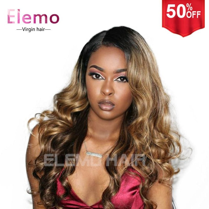 T1B/4/27 Ombre Color 13X6 Lace Front Wig Body Wave / 8 Inches