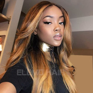 T1B/4/27 Ombre Color 13X6 Lace Front Wig Straight / 8 Inches