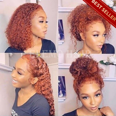 Undetectable Transparent Lace 360 Wig Henna Curly Hair Pre Plucked