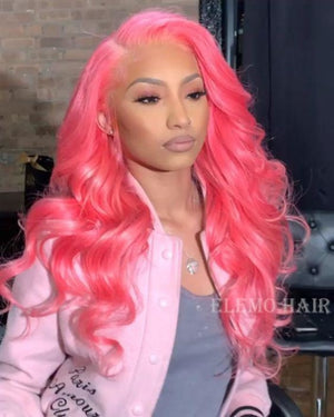 Upgraded Wavy Curl Stunning Pink 13×6 Lace Front Wig