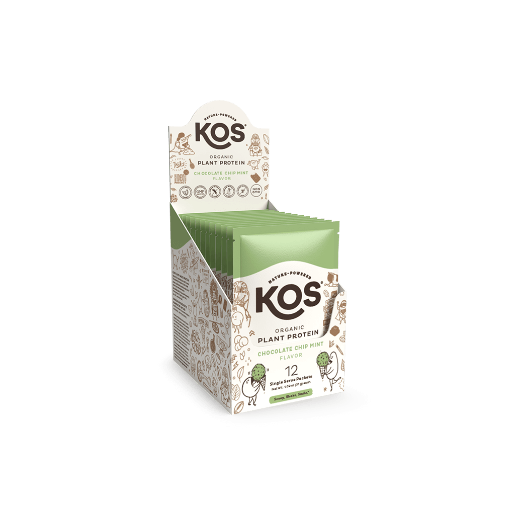 KOS Organic Plant Protein, Chocolate Chip Mint, 12 Count