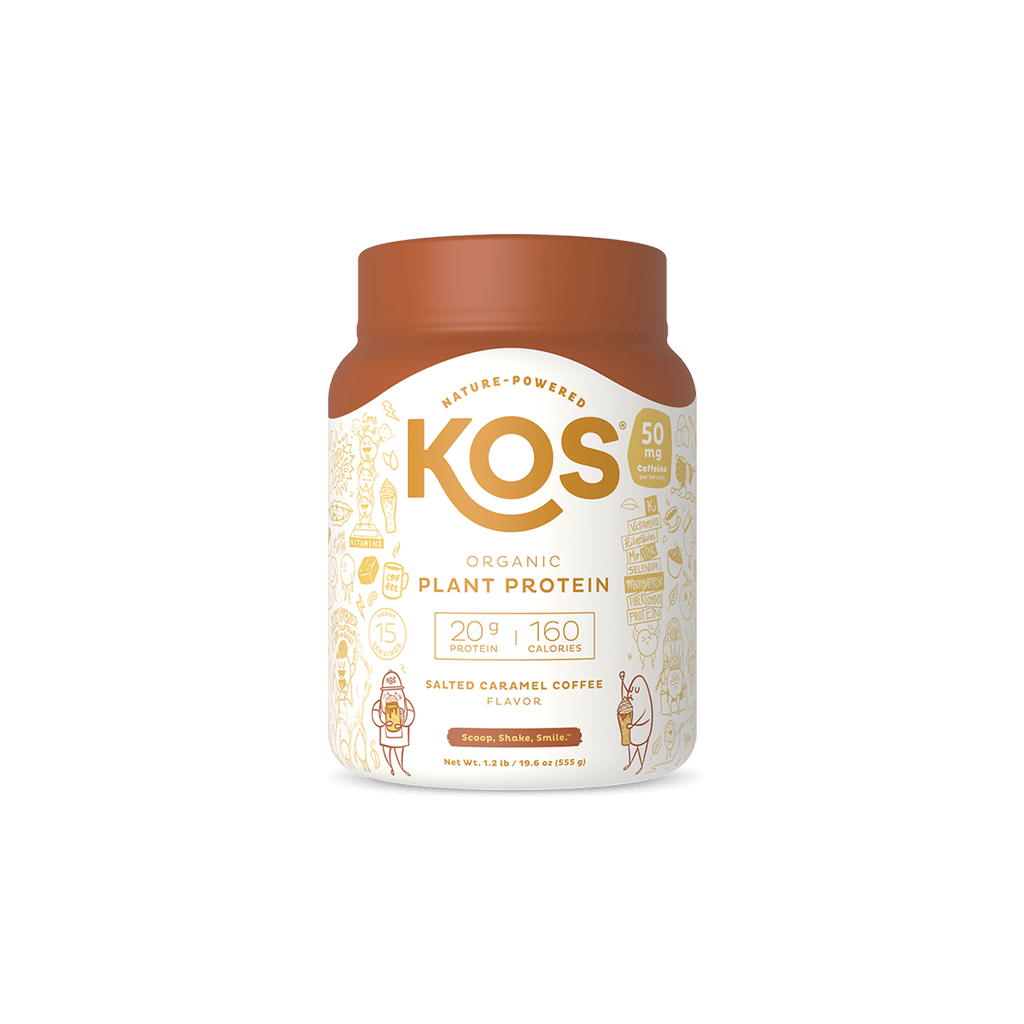 KOS Organic Plant Protein, Salted Caramel Coffee, 15 servings