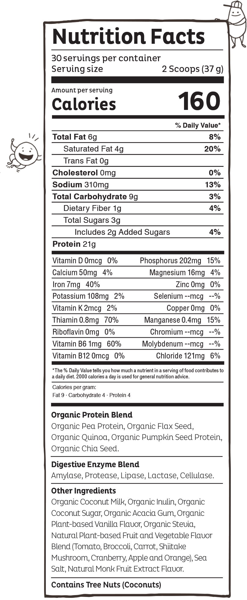 KOS Vanilla Nutritional Label